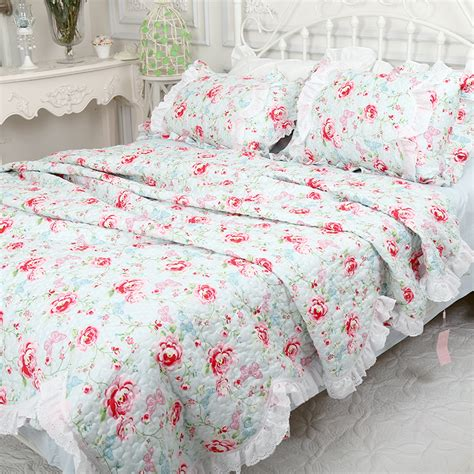 Quilts Bedding by White Green Blue Bedspread Rustic Flower Quilt