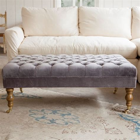 shabby chic ottomans quot liliput quot long tufted ottoman in pale lilac purple from