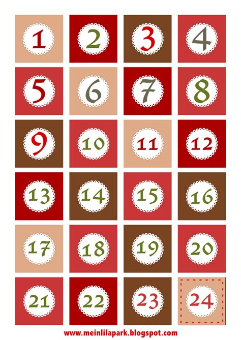 Printable Numbers 1 24 | meinlilapark free printable christmas advent calendar