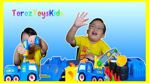 mobil beko mainan anak mainan bongkar pasang build n play vehicle truck crane toys