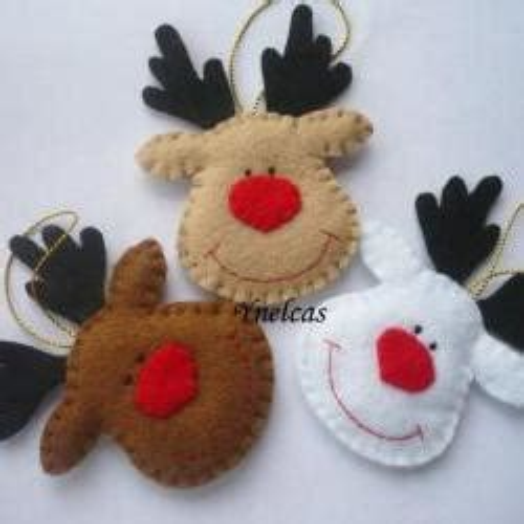 Kain Flanel Polos 20x40cm White rudolph the nosed reindeer felt ornament