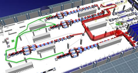 Machine Shop Floor Plan material flow visualization in tecnomatix plant si