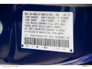 Honda Accord Code 1998 Honda Accord Colors Codes