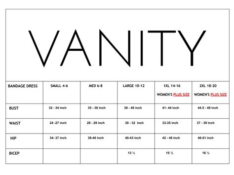 vanity size chart what s your real size the about