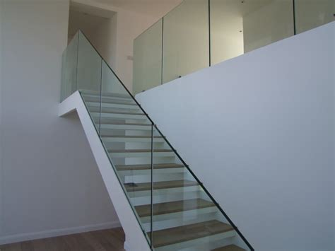 stair banister glass steel staircase with frameless glass balustrade
