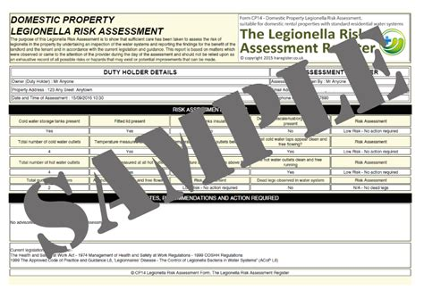 Legionella Risk Assessment Template The Legionella Risk Assessment Register Legionella Risk Assessment Template