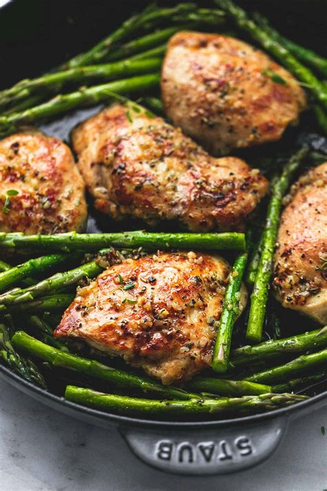 Main Dish Chicken Recipes - one pan garlic herb chicken and asparagus creme de la crumb