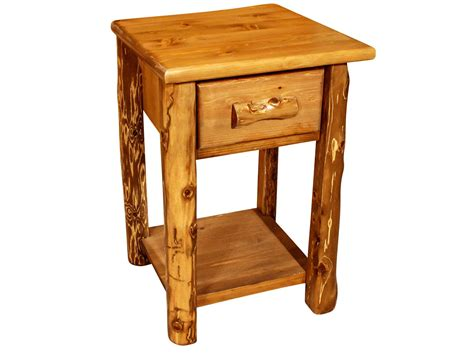 Log Side Table 1 Drawer Rustic Log End Table