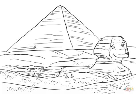 coloring pages egyptian pyramids sphinx and great pyramid of giza coloring page free