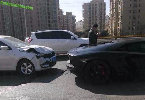 crashed white lamborghini five lamborghini supercars crashed in china on friday