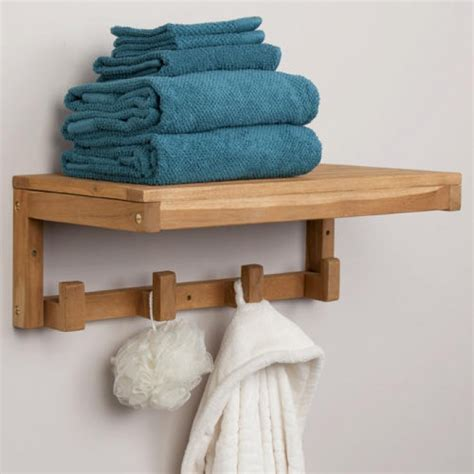 teak towel shelf with square hangers bathroom