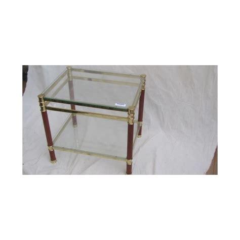 table bout de canapé en verre bout de canape en verre et pieds bois et metal dor 233 haut