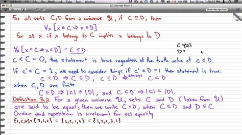 discrete math 1 tutorial 49 sets and subsets exle