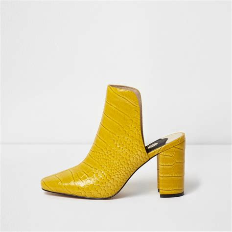 Block Heel Mules yellow croc block heel mules shoes shoes boots
