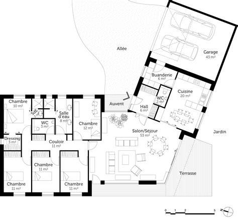 plan maison plain pied en l 4 chambres plan maison plain pied en v ooreka