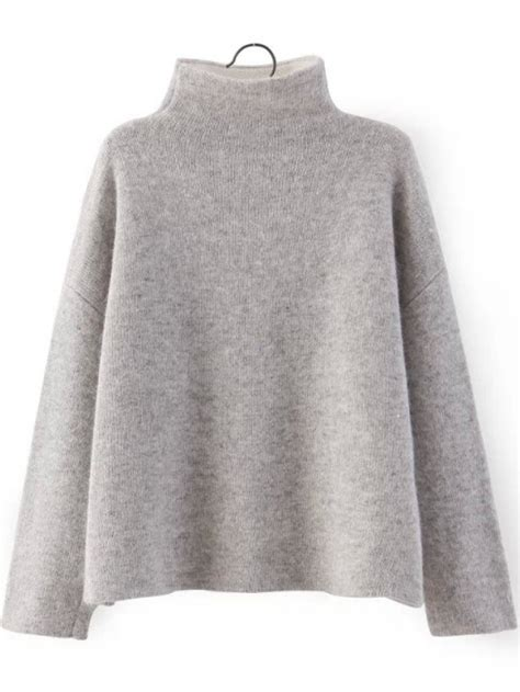 High Neck Knit Sweater grey high neck sleeve knit sweater abaday