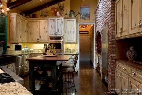 country kitchen with antique island cabinets decor