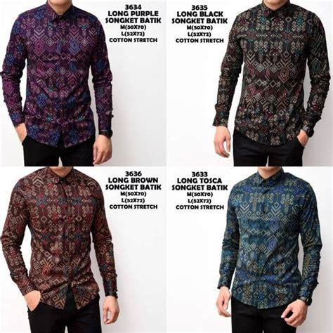 Readystok Kemeja Batik Songket Pria Panjang Kantor Kerja Slimfit Baj kemeja batik songket pria panjang slimfitparvezo parvezo