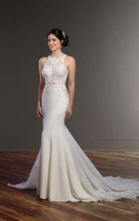 illusion racerback wedding dress  high neck martina