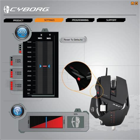 Four Lights pc mouse setting modes on a cyborg r a t 7 arqade