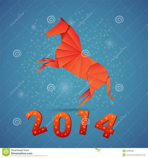 New Years Origami - new year origami paper 2014 royalty free stock