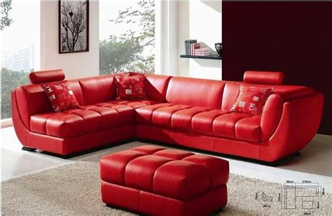 Louella Cherry Red Leather Sectional Sofa