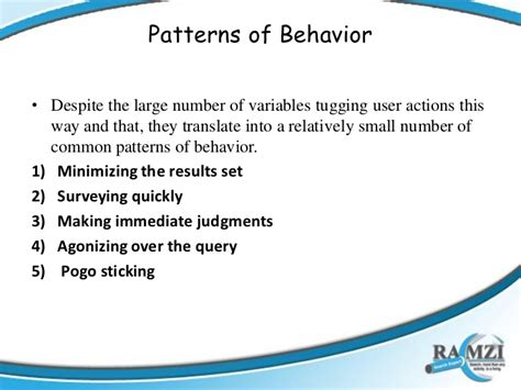 pattern behavior search behavior patterns