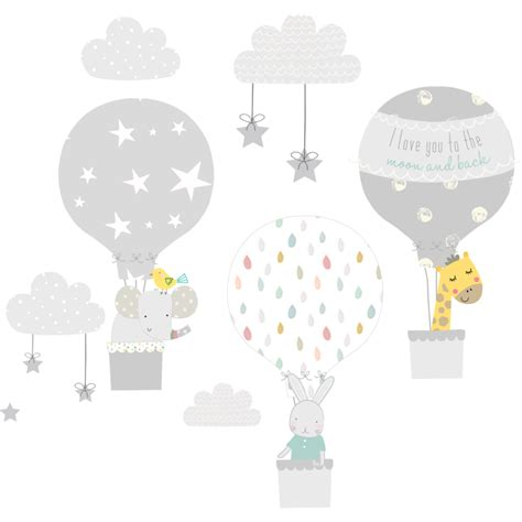 Air Balloons Wall Sticker grey air balloon wall stickers littleprints
