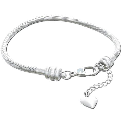 snake chain charm bracelet lobster claw clasp silver