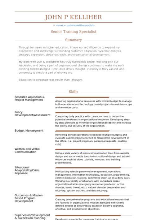 specialist resume sles visualcv resume sles database
