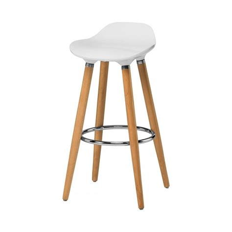 uk bar stools buy white plastic bar stool with beech wood legs from