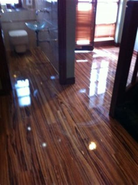 High Gloss Zebrano flooring   First Floors Glasgow