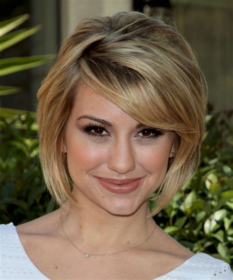front view of side swept hairstyles chelsea kane medium straight formal bob hairstyle with