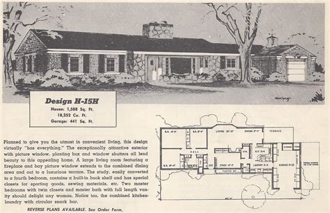 1950s Ranch House Floor Plans Vintage House Plans 15h Antique Alter Ego