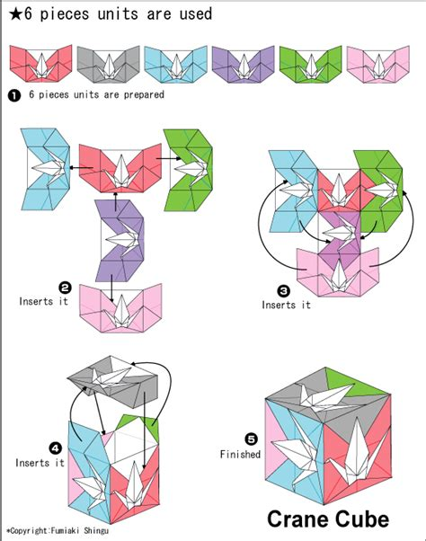 printable origami cube instructions origami crane cube instruction by fumiaki shingu origami