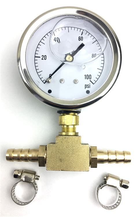 fuel pressure gauge side port  inline brass adapter