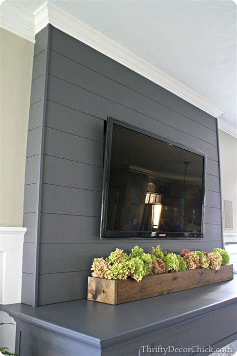 planked wall finished fireplace  thrifty decor
