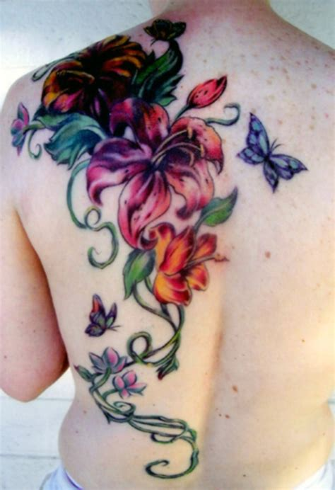 watercolor floral tattoo on back