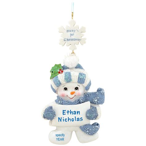 personalized baby s first christmas snowman boy ornament
