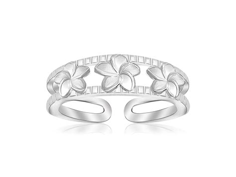 fancy floral rhodium plated toe ring in sterling silver
