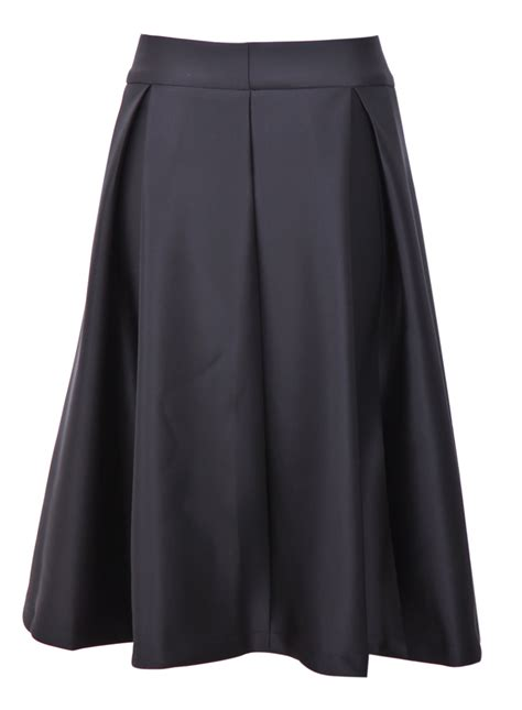 black zipper ruffle a line skirt shein sheinside