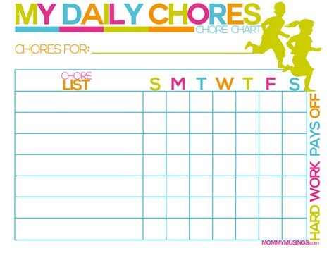 8 Best Images Of Free Printable Kids Chore Charts Templates Printable Kids Chore Chart Picture Chore Chart Template