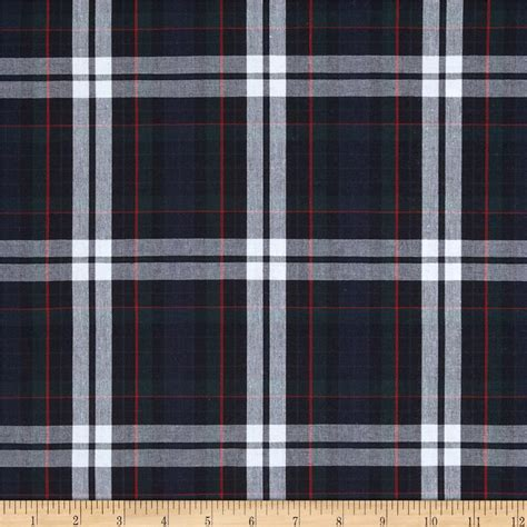 plaid fabric poly cotton uniform plaid red green white discount