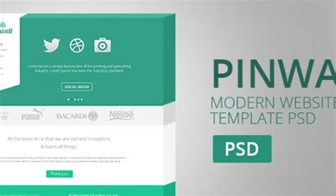 pinwall modern website template psd freebie no 103 templates archives 187 css author
