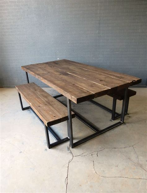 Reclaimed Solid Wood Dining Table Reclaimed Industrial Chic 6 8 Seater Solid Wood Metal
