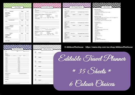 printable journey planner travel planner