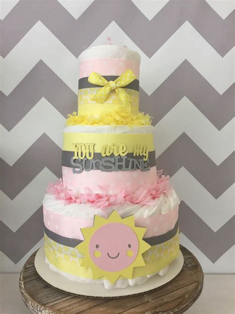 Pink And Yellow Baby Shower Cake by You Are My Cake In Pink Yellow And Gray You