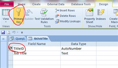 resetting primary key in access how to create table from query