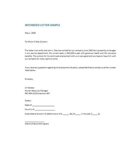 Business Letter Format Notary 30 Professional Notarized Letter Templates Template Lab