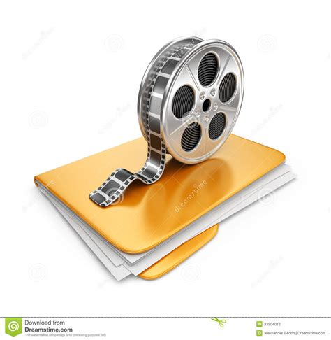 photo clips movie folder with a films spool 3d icon stock
